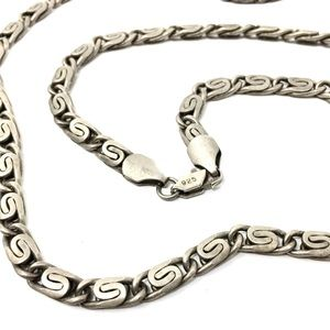 Vintage Sterling Silver Snail Chain Necklace